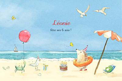 Carte d'anniversaire Conte d'été bleu finition