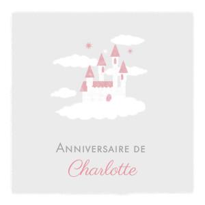 Carte d'anniversaire Château dans le ciel photo gris clair