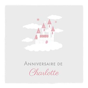 Carte d'anniversaire classique château dans le ciel photo gris clair