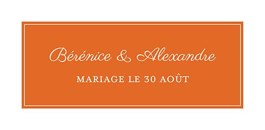 Marque-place mariage Carré chic orange