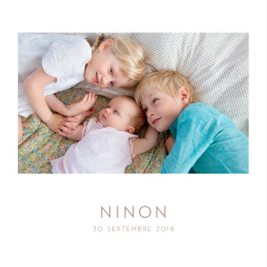 Faire-part de naissance Élégant 1 photo blanc