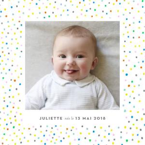 Faire-part de naissance Happy 3 photos blanc