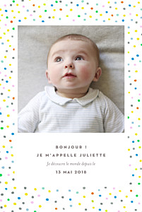 Faire-part de naissance pois happy 2 photos blanc
