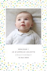 Faire-part de naissance Happy 2 photos blanc