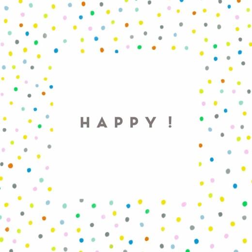 Faire-part de naissance Happy (triptyque) blanc