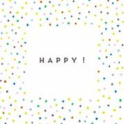 Faire-part de naissance Happy (triptyque) blanc page 1