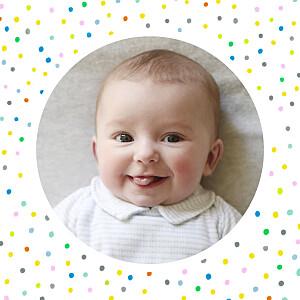 Carte de remerciement pois merci happy photo blanc