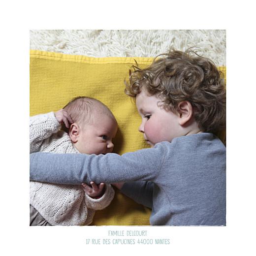 Faire-part de naissance Wax flower photo rv turquoise