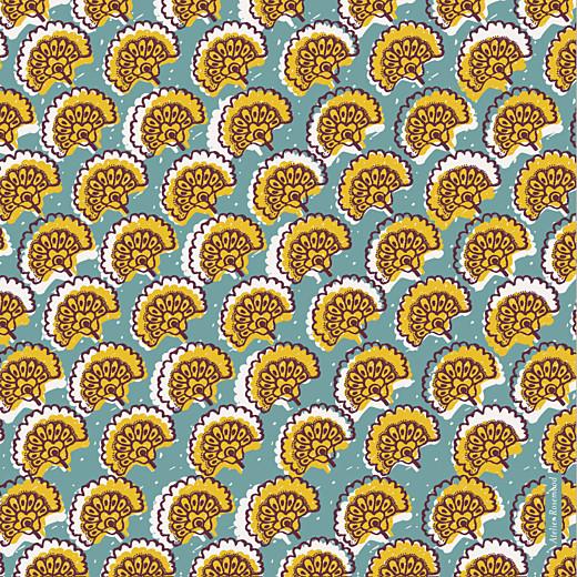 Faire-part de naissance Wax flower photo 4p turquoise
