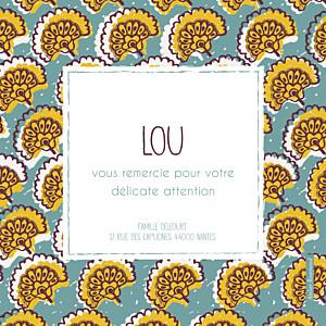 Carte de remerciement autour du monde merci wax flower turquoise