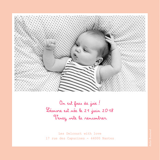 Faire-part de naissance Cherry chou photo rose
