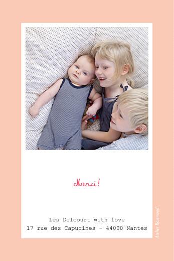 Carte de remerciement Merci cherry chou photo rose