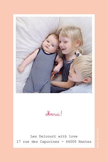 Carte de remerciement Merci cherry chou photo rose - Page 2