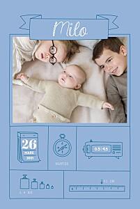 Faire-part de naissance bleu pictos ardoise bleu