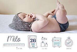 Faire-part de naissance tendance ruban pictos 4 photos blanc