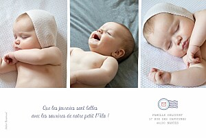 Faire-part de naissance Ruban pictos 4 photos blanc