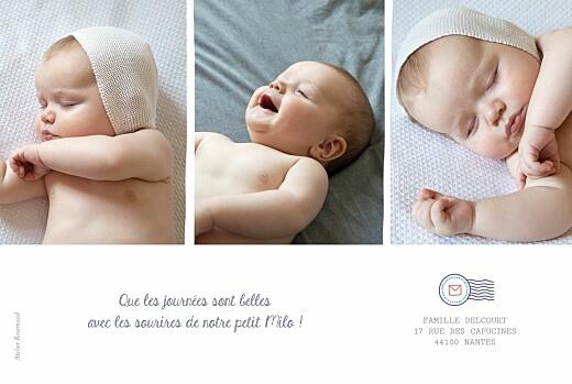Faire-part de naissance Ruban pictos 4 photos blanc