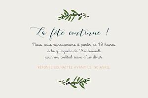 Carton d'invitation mariage Jour de fête crème