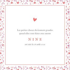 Faire-part de naissance Liberty cœur (4 pages) rose