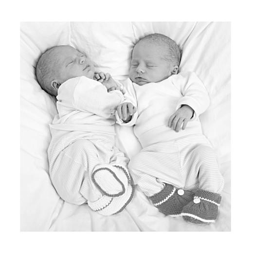 Faire-part de naissance Jeux d'enfants jumeaux gris
