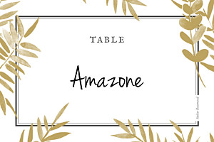 Marque-table mariage jaune feuillage or