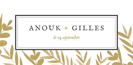 Marque-place mariage Feuillage or