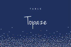 Marque-table mariage Confetti bleu