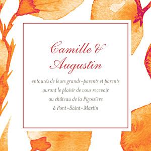 Carton d'invitation mariage Ombres florales orange