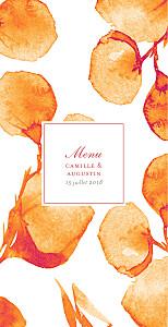 Menu de mariage Ombres florales orange