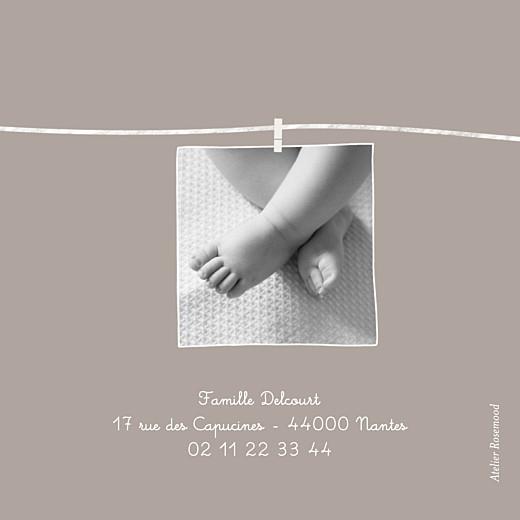 Faire-part de naissance Petit linge peluche (triptyque) taupe - Page 3