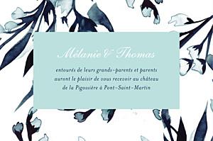 Carton d'invitation mariage Bleu de minuit bleu