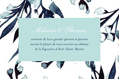 Carton d'invitation mariage Bleu de minuit bleu finition