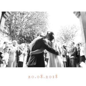 carte de remerciement mariage simple 4 photos triptyque corail - Remerciement Mariage Photo