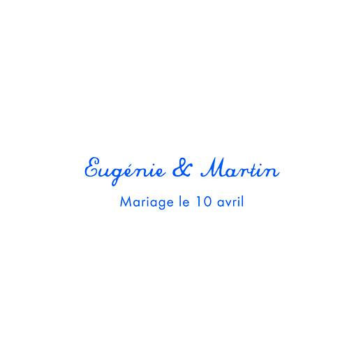 Carte de remerciement mariage Souvenir 4 photos (triptyque) bleu