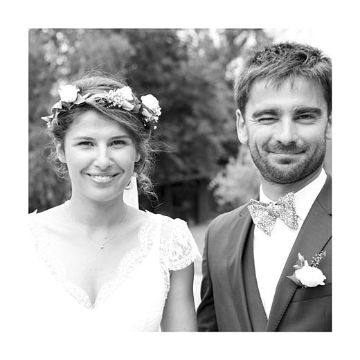 Carte de remerciement mariage Souvenir 4 photos (triptyque) bleu - Page 2