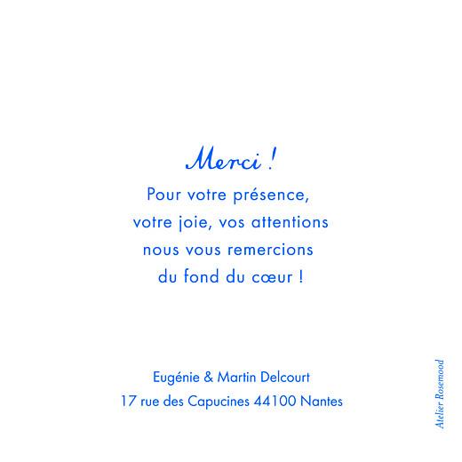 Carte de remerciement mariage Souvenir 4 photos (triptyque) bleu - Page 3