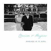 Carte de remerciement mariage Souvenir 5 photos (triptyque) bleu page 1