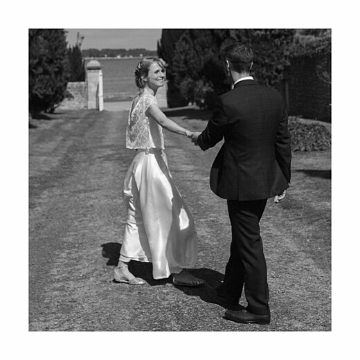 Carte de remerciement mariage Souvenir 5 photos (triptyque) bleu