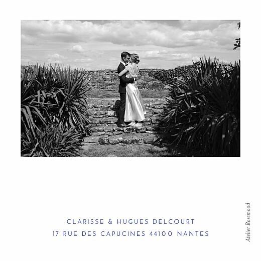 Carte de remerciement mariage Souvenir 5 photos (triptyque) bleu - Page 3