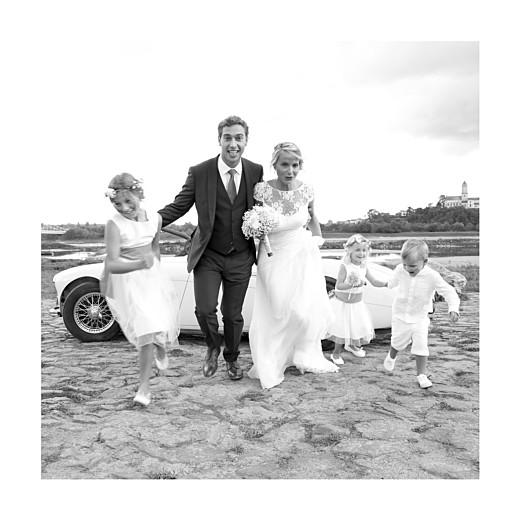 Carte de remerciement mariage Chic 3 photos (triptyque) corail