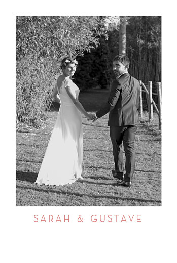 Carte de remerciement mariage Simple 1 photo portrait rose