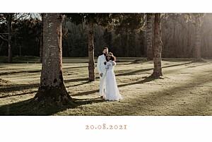 Carte de remerciement mariage Bandeau 1 photo paysage corail