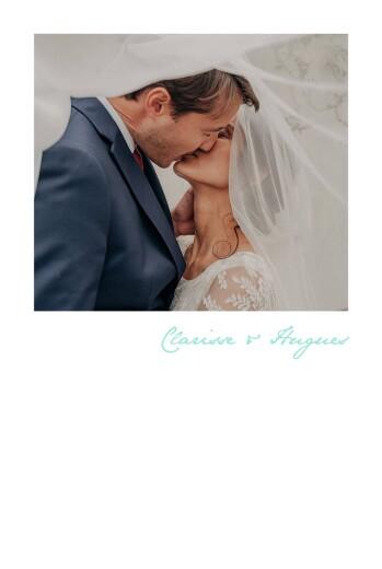 Carte de remerciement mariage Contemporain 1 photo portrait bleu