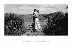 Carte de remerciement mariage Simple 1 photo paysage bleu & jaune