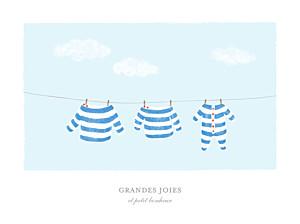 Affiche famille fil à linge marinière bleu