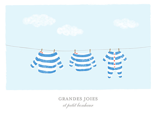 Affichette Fil à linge marinière bleu