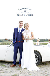Carte de remerciement mariage bleu easy chic bleu