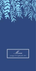 Menu de mariage Feuillage (4 pages) bleu