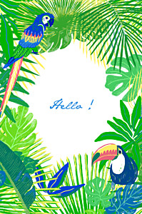 Carte de correspondance original tropic vert