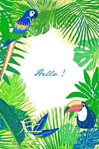 Carte de correspondance tous genres tropic vert